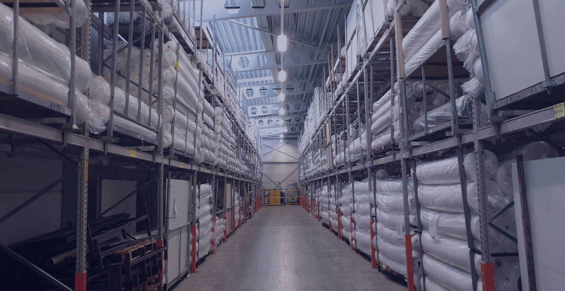 Warehouse from Innofa filled with mattress covers