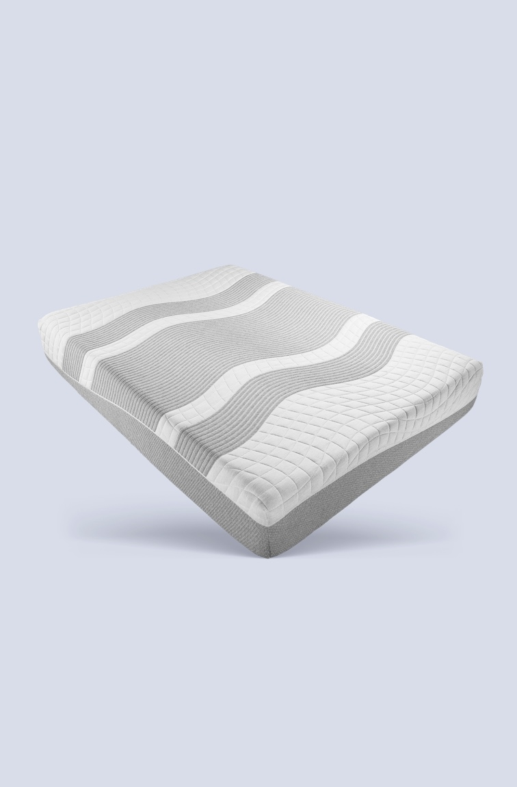 Mattress with waves mattress cover on white and grey background