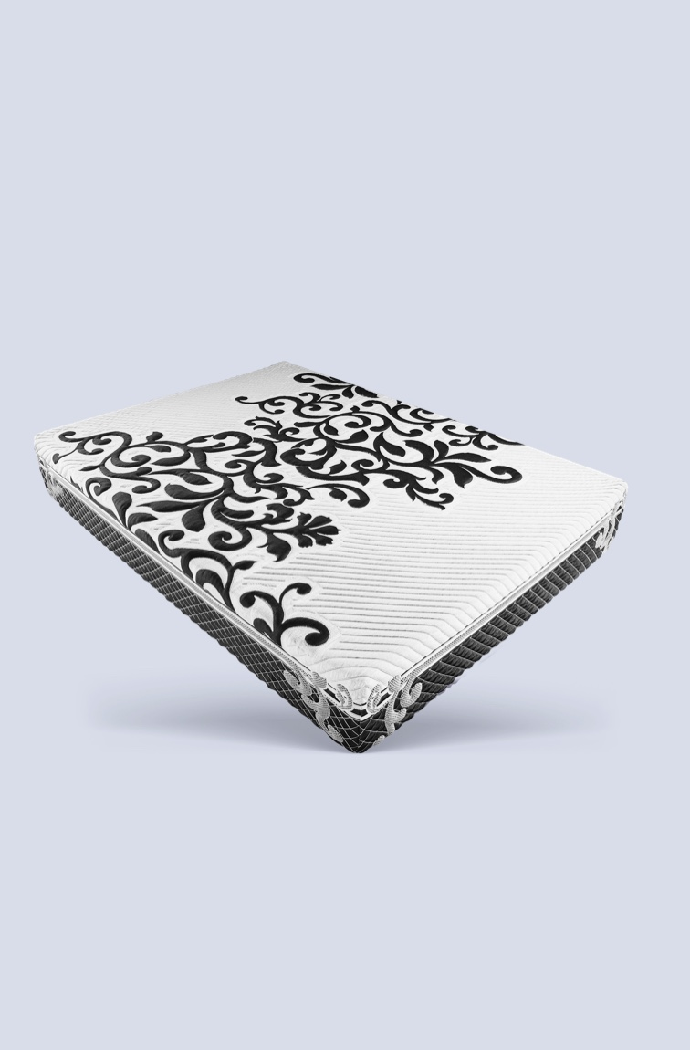 Mattress with black flower mattress cover on white and grey background