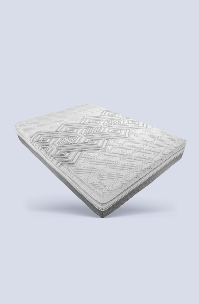 Mattress with woven mattress cover on white and grey background